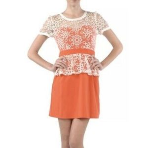 A'reve Flower Lace Top Over Tube Bottom Dress